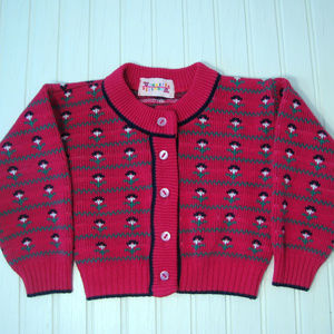 Raspberry Pink Vintage Baby Sweater 18 Mo Flowers
